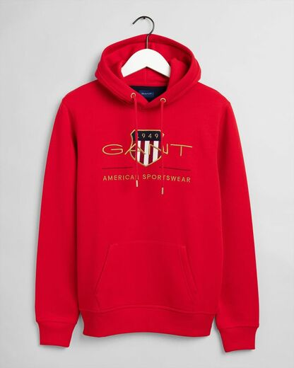 Gant-archive-shield-hoodie-punainen